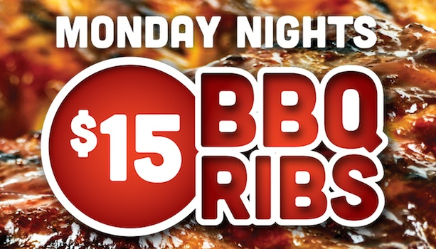 $15 BBQ Ribs - Monday Nights