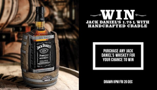 Win a Jack Daniel's 1.75L with Handcrafted Cradle